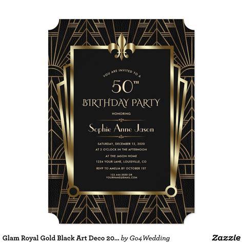 Glam Royal Gold Black Art Deco 20s Birthday Party