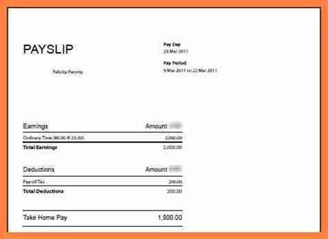 salary payslip template  salary slip