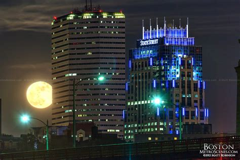 Supermoon Rises Behind One Financial Center And One