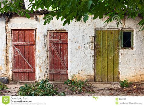 wooden painted doors stock photo image