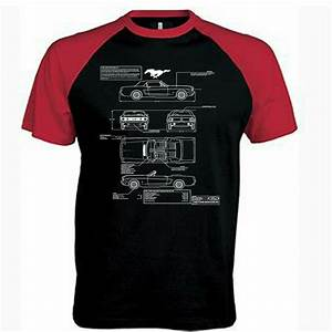 Mens Ford Mustang T Shirt Blueprint Genuine American Classic Muscle Car Shirts - Hot Rod 58