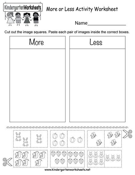 More Or Less Activity Worksheet  Free Kindergarten Math Worksheet For Kids