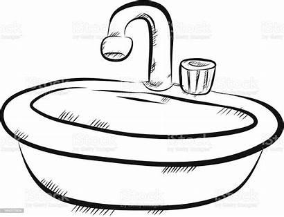 Sink Bath Bathroom Vector Drawing Illustration Clipart