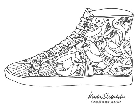 shoe coloring page birds doodles shoes and free coloring pages kendra