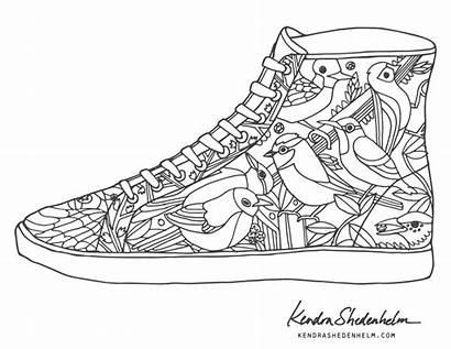Coloring Shoes Pages Birds Doodles Shoe