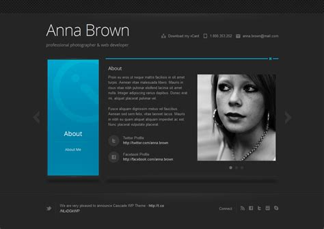 cascade responsive personal vcard template by