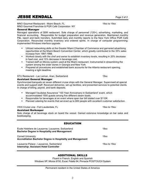 assistant restaurant manager description duties 10 sle of restaurant manager resume writing resume sle