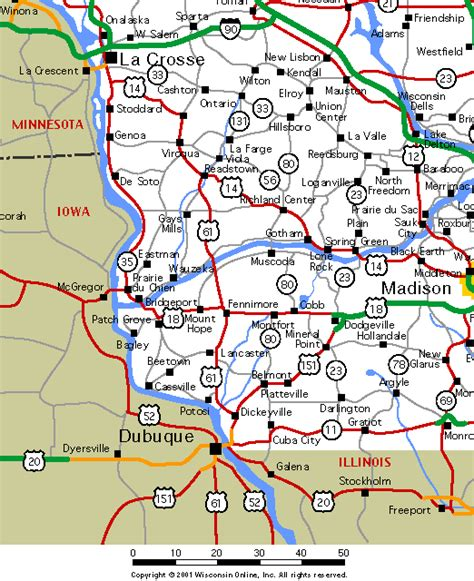 South West Wisconsin Road Map