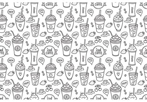 iced coffee seamless pattern vector