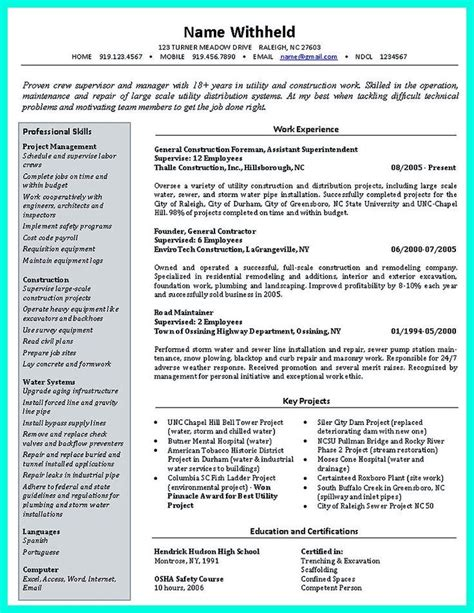 Construction Resumes by Simple Construction Superintendent Resume Exle To Get