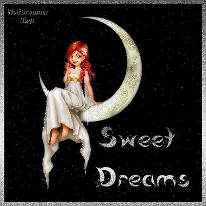 Dreams Sweet Night Moon Sitting Glitter Graphics