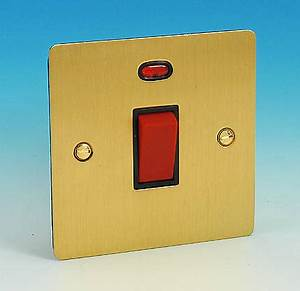 45 Amp DP Switch Sq Neon Brushed Brass Black Insert