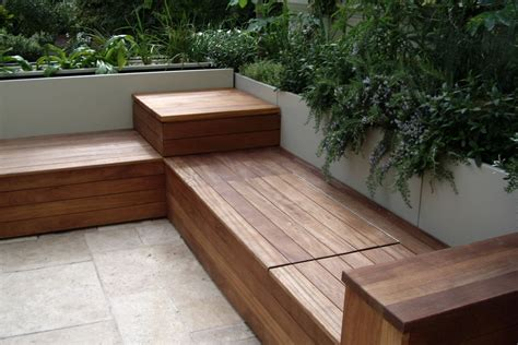 Patio Table With Bench Seating by Deck Bench With Storage Garden And Patio Patio Storage