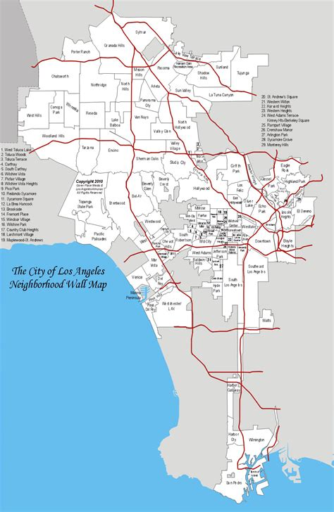 detailed map  los angeles city  neighborhoods los