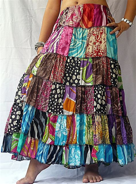 women cotton patchwork gypsy hippy summer skirts tired long