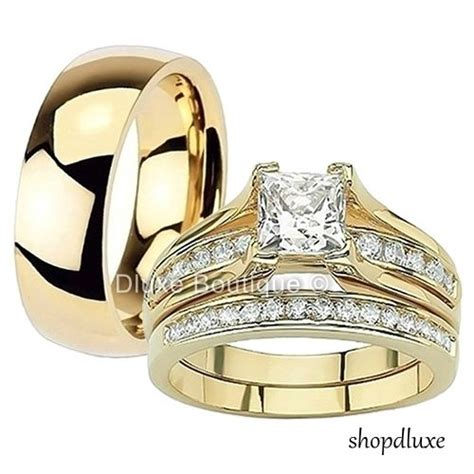 his hers 3 piece 14k gold plated stainless steel cz