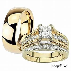 his hers 3 piece 14k gold plated stainless steel cz With 3 piece gold wedding ring sets