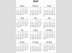 2019 Calendar Printable One Page Free Calendar Template