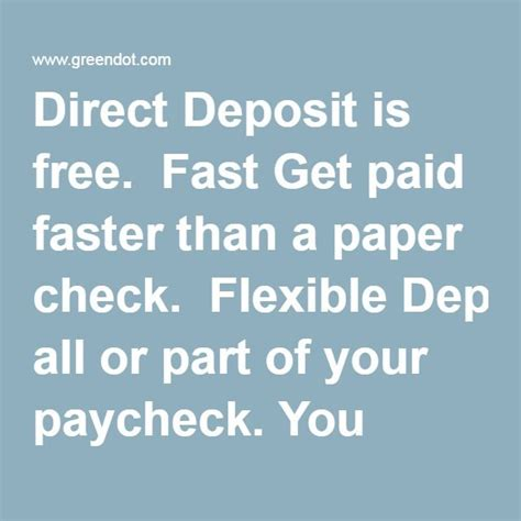 direct deposit   fast  paid faster   paper