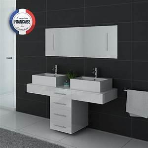 Vasque Originale : meuble de salle de bain double vasque blanc dis988b ~ Dode.kayakingforconservation.com Idées de Décoration