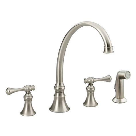 kitchen faucet brushed nickel shop kohler revival vibrant brushed nickel 2 handle high