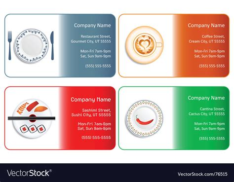 Restaurant Business Cards Royalty Free Vector Image Business Card Layout Inspiration Holder With Name Engraved Contact Icon Set Small Leather For Desk Folio Png