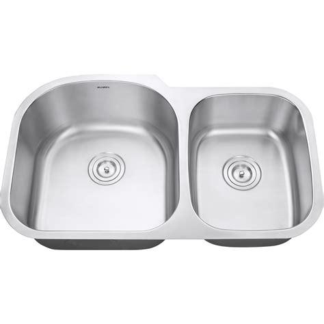 34 stainless steel kitchen sink ruvati 34 inch undermount 60 40 double bowl 16 gauge