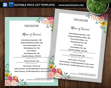 pricing list template price list template menu template