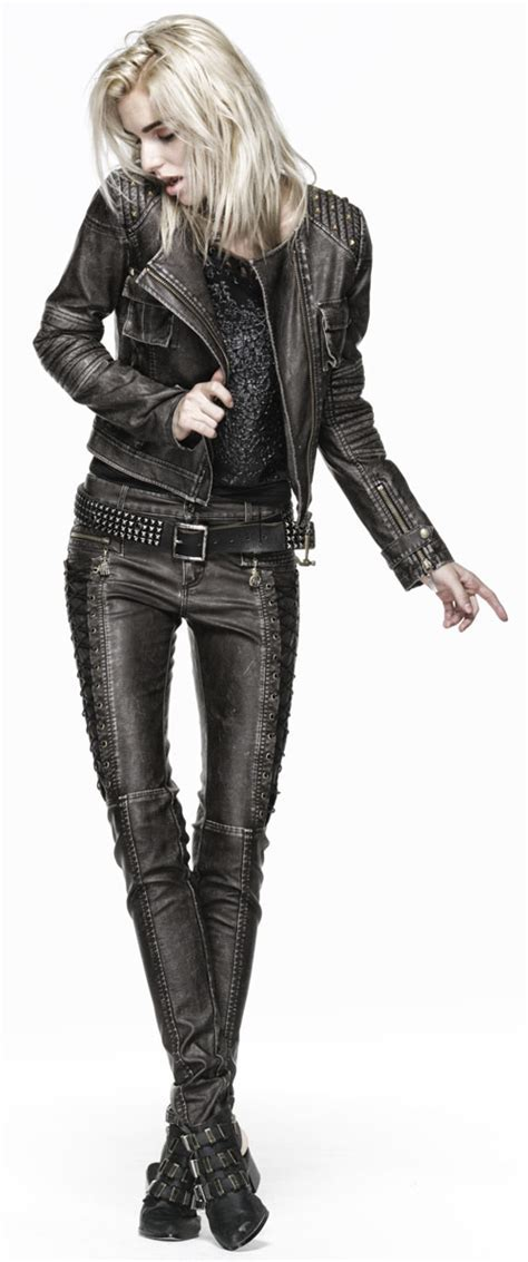 Brown leather pants with decorative side lacing Punk Rave