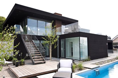 nilsson villa modern beach house  black  white interior design  sweden homesthetics