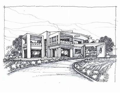 Modern Houses Sketch Drawing Sketches Contemporary Sketching