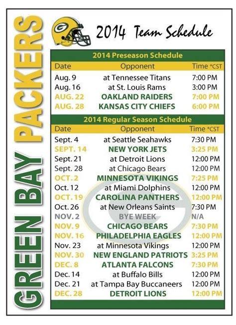 green bay packers football schedule magnet green