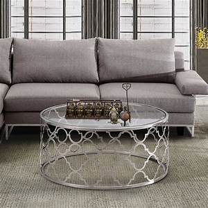 Armen living florence round glass top coffee table in for Round glass silver coffee table