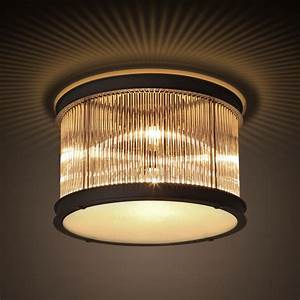 Designer light drum shaped flush mount glass ceiling