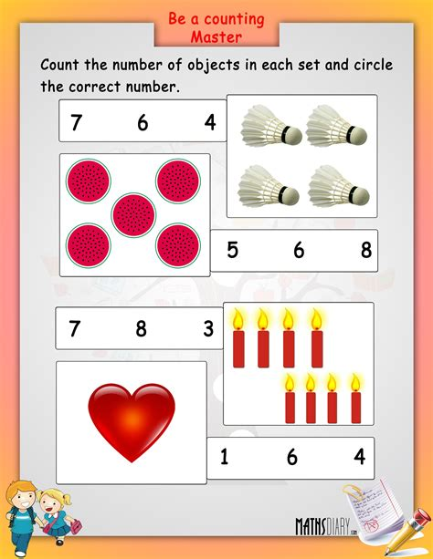 lkg maths worksheets match math worksheetsplay school