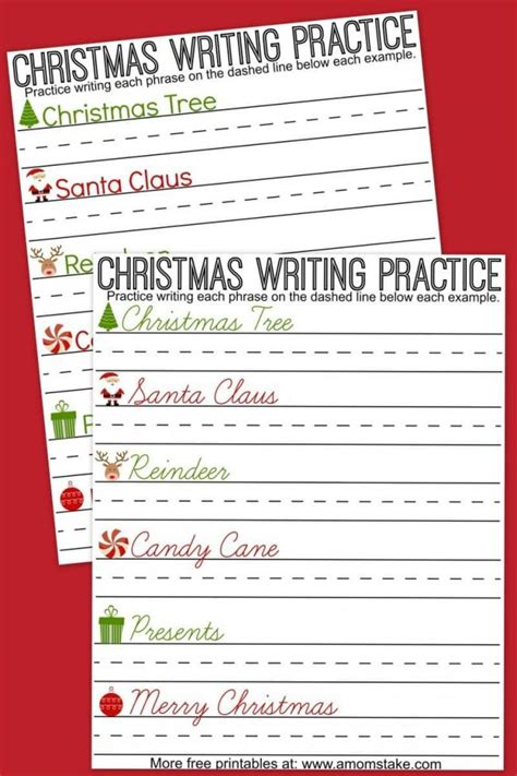 christmas writing practice sheets a mom s take