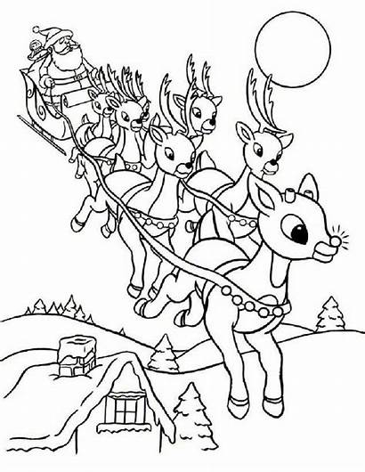Rudolph Coloring Pages Christmas Printable Reindeer Colouring