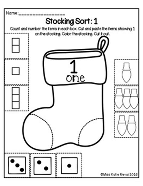 christmas count cut and paste number sort 1 5 worksheets stockings for pk k