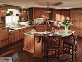 traditional kitchen island kraftmaid cherry cabinetry in burnished traditional kitchen by kraftmaid