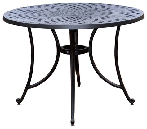 round metal outdoor table round 42 quot outdoor patio dining table in charcoal black