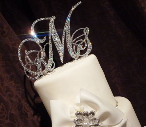 Rhinestone Initial Wedding Cake Toppers   ogvinudskillelse.website