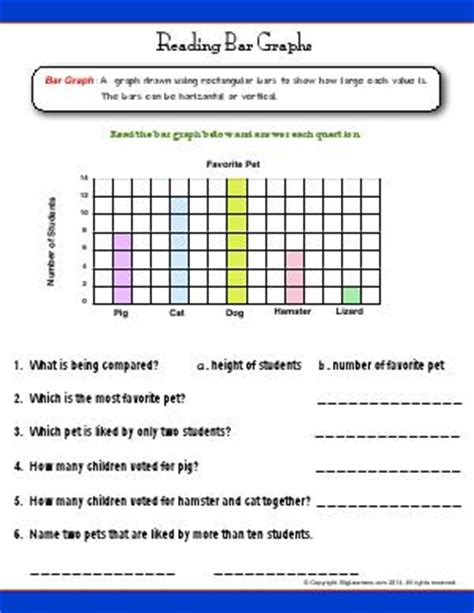 interpret information from diagrams charts and graphs second grade english worksheets