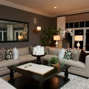 So comfy love the color scheme dark grey walls beige for Warm wall colors for living rooms