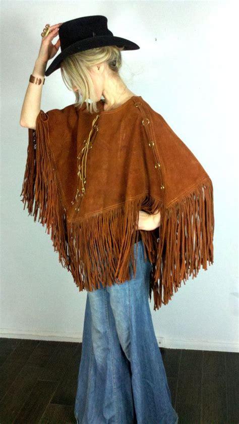 fringe   vintage  suede cape hippie brown  boho