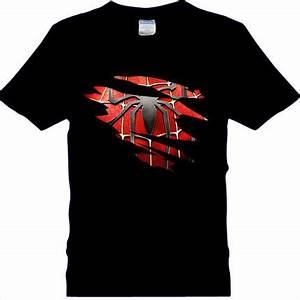 Spider man Logo Print T shirt Men Black Superhero Fashion ...