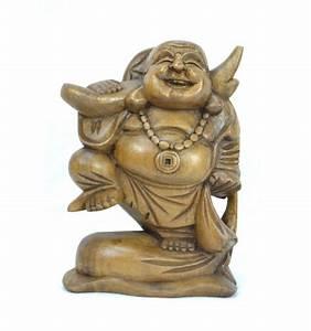 Statue Bouddha Interieur : statue bouddha chinois rieur voyageur en bois sculpture artisanale ~ Teatrodelosmanantiales.com Idées de Décoration