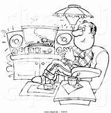 Cartoon Coloring Records Clipart Outlined Relaxing Listening Bannykh Alex sketch template