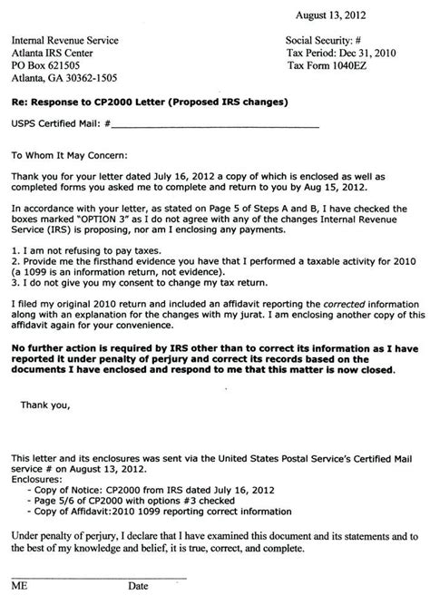 sle letter to irs cp2000 response letter sle luxury cp2000 response letter 9313