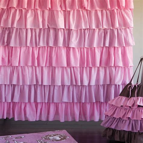 Pink And Purple Ruffle Curtains by Shower Curtains Ruffled Interior Decorating