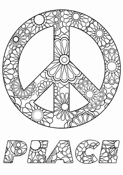 Peace Symbol Flowers Coloring Stress Anti Text